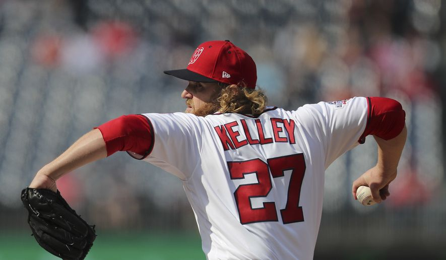 Washington Nationals relief pitcher Shawn Kelley (27) throws a pitch against the Atlanta Braves during the tenth inning of a baseball game at Nationals Park, Wednesday, April 11, 2018 in Washington. Atlanta won 5-3. (AP Photo/Pablo Martinez Monsivais) **FILE**