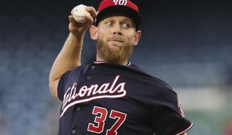 Washington Nationals starting pitcher Stephen Strasburg (37) throws against the Atlanta Braves during the first inning of a baseball game at Nationals Park, Tuesday, April 10, 2018 at Nationals Park. (AP Photo/Pablo Martinez Monsivais)