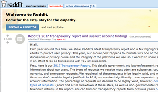 Screen capture from an April 10, 2018 reddit.com post about the popular website's efforts to identify and ban Russian trolls. (Reddit.com)