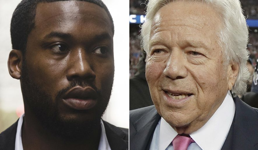 FILE - At left, in a Nov. 6, 2017, file photo, rapper Meek Mill arrives at the criminal justice center in Philadelphia. At right, in a Jan. 21, 2018, file photo, New England Patriots owner Robert Kraft leaves the field after the Patriots defeated the Jacksonville Jaguars in the AFC Championship in Foxborough, Mass. Patriots owner Robert Kraft is calling for reform of the criminal justice system after visiting rapper Meek Mill in a Pennsylvania prison. Kraft and Philadelphia 76ers co-owner Michael Rubin visited the Philadelphia-born rapper on Tuesday, April 10, 2018. (AP Photo/File)