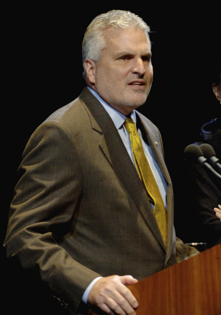 """FILE - In this Feb. 13, 2006 file photo, poet J.D. McClatchy discusses his English translation of Mozart's """"The Magic Flute,"""" at Lincoln Center in New York. Publisher Alfred A. Knopf announced that McClatchy died Tuesday, April 10, 2018, at his home in Manhattan. He was 72 and had been battling cancer. (AP Photo/Henny Ray Abrams, File)"""