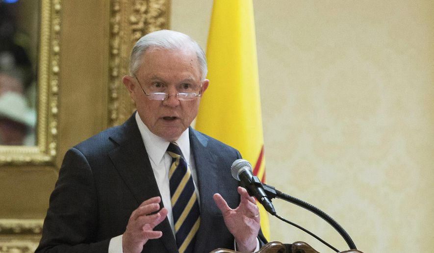 U.S. Attorney General Jeff Sessions speaks to members of Texas and Southwestern border sheriffs, who were holding their convention in Las Cruces, N.M., Wednesday, April 11, 2018. (Josh Bachman/The Las Cruces Sun News via AP)