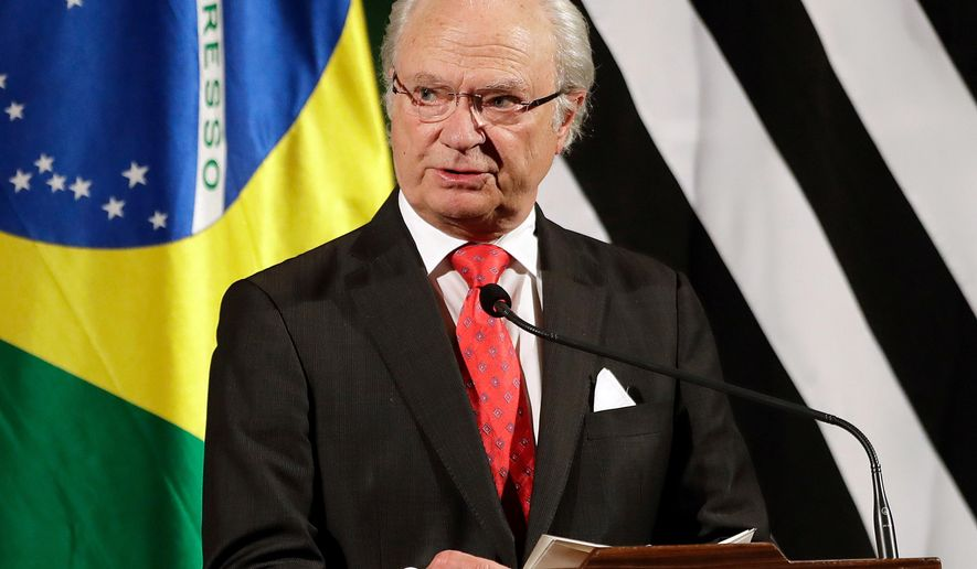 "FILE - In this Monday, April 3, 2017 file photo, King Carl Gustaf of Sweden speaks during a meeting with Brazilian and Swedish businessmen, in Sao Paulo, Brazil. Sweden's king on Wednesday, April 11, 2018 the resignation of three members from the Swedish Academy awarding the Nobel Literature Prize is ""deeply unfortunate and risk seriously damaging"" the body's ""important activities.""  (AP Photo/Andre Penner, file)"