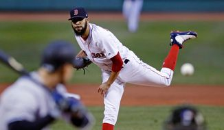 Boston Red Sox starting pitcher David Price delivers during the first inning of the team's baseball game against the New York Yankees at Fenway Park in Boston, Wednesday, April 11, 2018. (AP Photo/Charles Krupa)