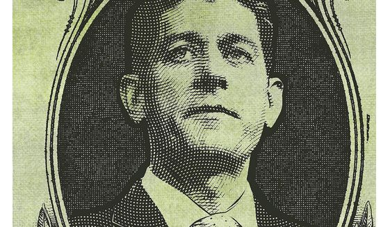 Illustration on Paul Ryan's fiscal legacy by Linas Garsys/The Washington Times