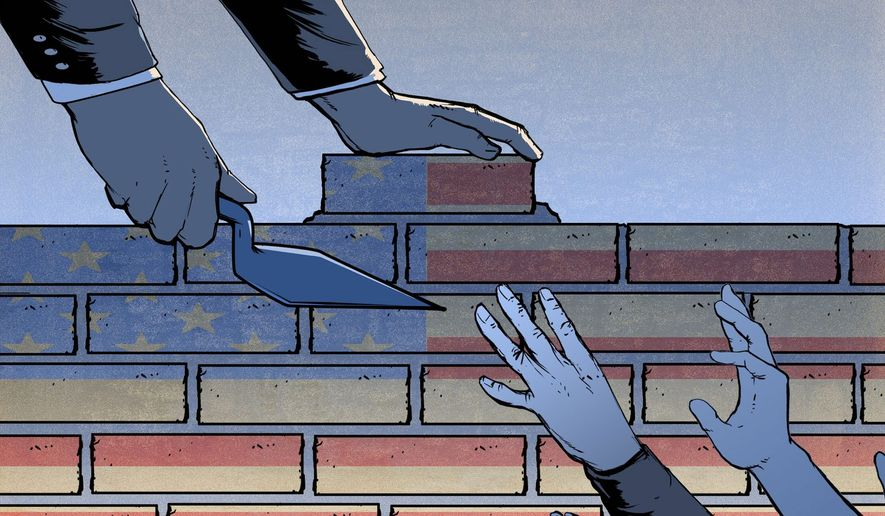 Illustration on the southern border wall by Paul Tong/Tribune Content Agency