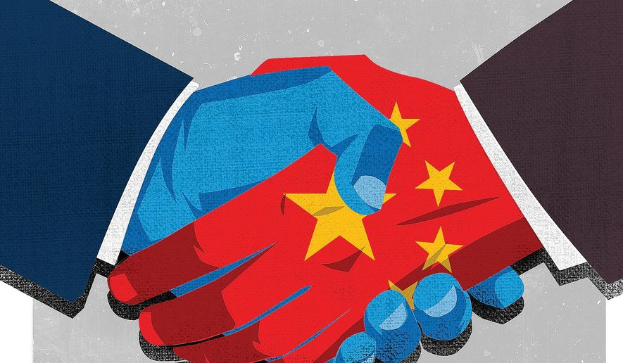 Illustration on a U.S. China trade deal by Linas Garsys/The Washington Times