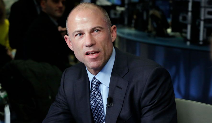 Michael Avenatti, lawyer for Stormy Daniels, is interviewed on the floor of the New York Stock Exchange, Thursday, April 5, 2018. (AP Photo/Richard Drew)