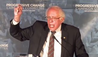 """Vermont Sen. Bernie Sanders tells a crowd that policies that were previously considered """"radical"""" are now accepted as """"mainstream"""" by the modern Democratic Party, April 12, 2018. (Image: Facebook, Progressive Change Campaign Committee, live-stream)"""