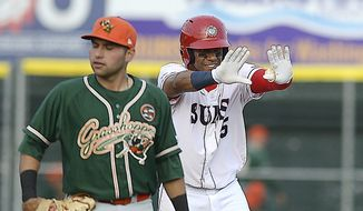 Hagerstown Suns' Juan Soto celebrates at second base as Greensboro Grasshoppers Eric Gutierrez walks past during a Class-A baseball game Thursday, April 12, 2018,  in Hagerstown, Md. (Colleen McGrath/The Herald-Mail via AP) **FILE**