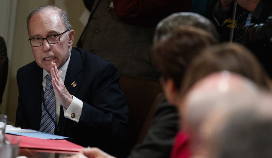 White House chief economic adviser Larry Kudlow speaks during a meeting between President Donald Trump and governors and lawmakers in the Cabinet Room of the White House, Thursday, April 12, 2018, in Washington. (AP Photo/Evan Vucci) **FILE**