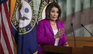 House Minority Leader Nancy Pelosi, D-Calif., tells reporters that the work of special counsel Robert Mueller must continue as President Donald Trump suggests firing him while investigating potential ties between Russia and Trump's 2016 campaign, at the Capitol in Washington, Thursday, April 12, 2018. (AP Photo/J. Scott Applewhite) ** FILE **