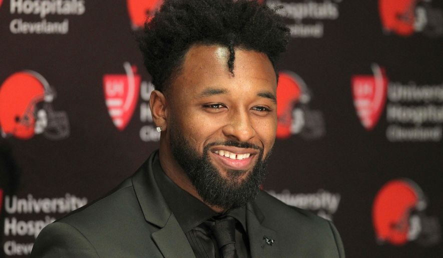 In this March 15, 2018, file photo, Cleveland Browns' Jarvis Landry speaks at an NFL football press conference in Berea, Ohio. (Joshua Gunter/The Plain Dealer via AP, File)