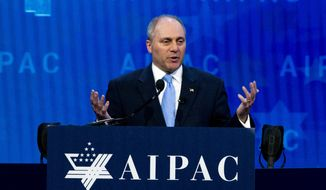 In this March 6, 2018, file photo, House Republican Whip Steve Scalise speaks at the 2018 American Israel Public Affairs Committee (AIPAC) policy conference in Washington. (AP Photo/Jose Luis Magana, File)