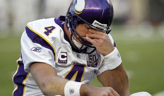 "FILE - In this Oct. 31, 2010, file photo, Minnesota Vikings quarterback Brett Favre rubs his eyes after being hit by New England Patriots linebacker Gary Guyton during the first quarter of an NFL football game in Foxborough, Mass.  Favre says he might have had ""thousands"" of concussions during his Hall of Fame career. The three-time NFL MVP who played from 1992-2010 and was known for his aggressive approach to football said Thursday, April 12 2018 on NBC's ""Megyn Kelly Today"" that he is experiencing short-term memory issues. (AP Photo/Winslow Townson, File)"