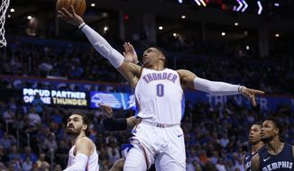 Oklahoma City Thunder guard Russell Westbrook (0) goes to the basket in front of Memphis Grizzlies forward Dillon Brooks, rear, and guard Ben McLemore (23) and Thunder's Steven Adams, left, during the second half of an NBA basketball game in Oklahoma City, Wednesday, April 11, 2018. (AP Photo/Sue Ogrocki)