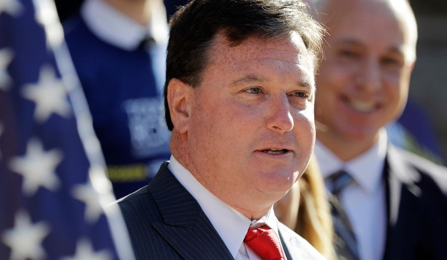 FILE - In this Aug. 9, 2017, file photo, Indiana Rep. Todd Rokita speaks during a news conference outside of the Indiana Statehouse in Indianapolis. Rokita likely violated ethics laws as Indiana's secretary of state by repeatedly accessing a Republican donor database from his government office, prompting party officials to lock him out of the system until he angrily complained, three former GOP officials told The Associated Press. (AP Photo/Darron Cummings, File)