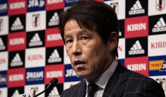 Japan Football Association (JFA) new coach Akira Nishino speaks during a press conference at its headquarters in Tokyo, Thursday, April 12, 2018. Japan fired coach Vahid Halilhodzic on Monday, two months before the World Cup, and immediately replaced him with Nishino. (AP Photo/Shizuo Kambayashi)