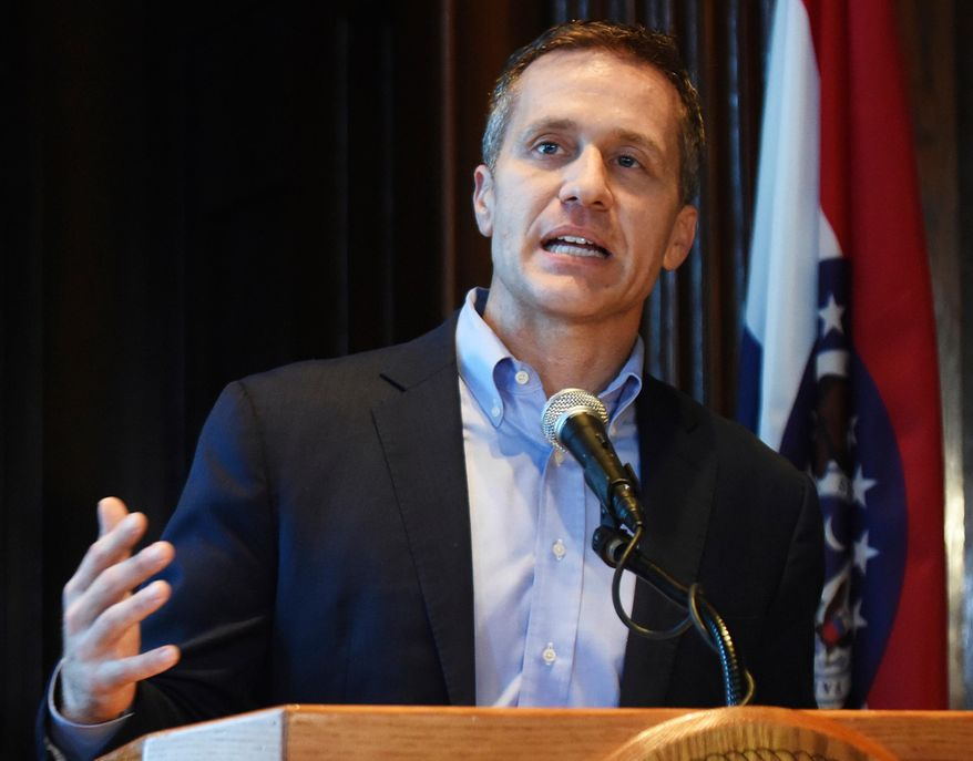Missouri Gov. Eric Greitens speaks at a news conference about allegations related to his extramarital affair with his hairdresser, in Jefferson City, Mo., Wednesday, April 11, 2018. (Julie Smith/The Jefferson City News-Tribune via AP)
