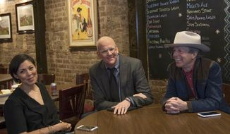 "This image released by Showtime shows, from left, Alex Wagner, John Heilemann and Mark McKinnon from the series, ""The Circus: Inside the Greatest Political Show on Earth."" Wagner joins the show as a permanent host this season, premiering Sunday, April 15. (Alison Cohen Rosa/Showtime via AP)"