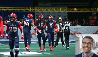 Randall Boe (bottom right) was named the commissioner of the Arena Football League for the 2018 season. Boe is the executive vice president and general counsel for Monumental Sports and Entertainment, which owns two AFL clubs, the Washington Valor (background) and the Baltimore Brigade. (File photo of Valor by Ned Dishman / photo of Boe courtesy of Monumental Sports and Entertainment)