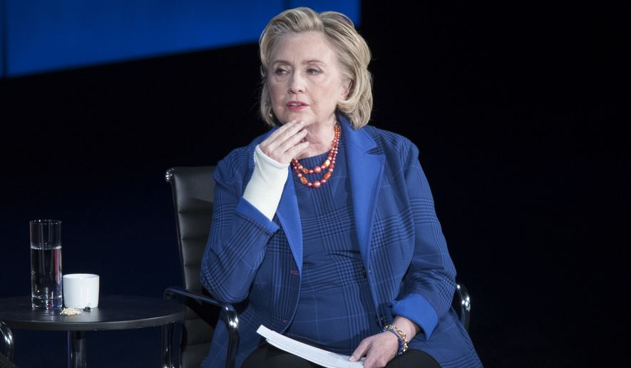 Hillary Clinton speaks during the ninth annual Women in the World Summit, Friday, April 13, 2018, in New York. (AP Photo/Mary Altaffer)
