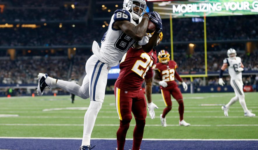 FILE - In this Nov. 30, 2017, file photo, Dallas Cowboys wide receiver Dez Bryant (88) catches a pass for a touchdown over Washington Redskins cornerback Bashaud Breeland (26) in the second half of an NFL football game, in Arlington, Texas. The Cowboys have released Dez Bryant, deciding salary cap relief with the star receiver's declining production outweighs the risk of him returning to All-Pro form with another team. Cowboys owner and general manager Jerry Jones said in a statement Friday, April 13, 2018, it wasn't an easy decision, but was what the organization believes is in its best interest. (AP Photo/Ron Jenkins, File)
