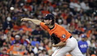 Houston Astros starting pitcher Gerrit Cole throws against the Texas Rangers during the third inning of a baseball game Friday, April 13, 2018, in Houston. (AP Photo/David J. Phillip)
