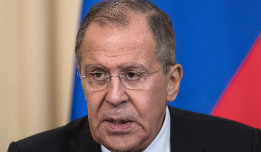 """Russian Foreign Minister Lavrov speaks to the media a joint news conference with Dutch Foreign Minister Halbe Zijlstra following their talks, in Moscow, Russia, Friday, April 13, 2018. Lavrov said Friday Russian experts inspected the site of the alleged attack in the town of Douma and found no trace of chemical weapons. He said Moscow has """"irrefutable information that it was a fabrication."""" (AP Photo/Sergei Poliakov)"""