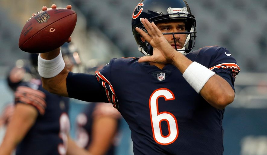 FILE - In this Aug. 31, 2017, file photo, Chicago Bears quarterback Mark Sanchez (6) warms up before an NFL football game against the Cleveland Browns in Chicago. The NFL has suspended free agent Sanchez for the first four games of next season for violating the league's policy against performance-enhancing substances. The league announced the punishment Friday, April 13, 2018. (AP Photo/Nam Y. Huh, File)