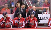 Washington Capitals head coach Barry Trotz, top right, gestures from the bench during the third period in Game 1 of an NHL first-round hockey playoff series against the Columbus Blue Jackets, Thursday, April 12, 2018, in Washington. (AP Photo/Nick Wass) ** FILE **