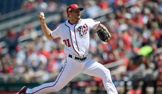 Washington Nationals starting pitcher Max Scherzer delivers a pitch during the fourth inning of a baseball game against the Colorado Rockies, Saturday, April 14, 2018, in Washington. (AP Photo/Nick Wass) ** FILE **