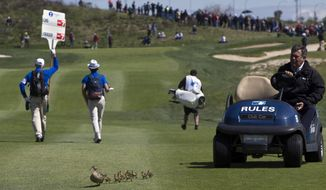 An official in a golf cart ushers a family of ducks off the course during the Spanish Open Golf tournament in Madrid, Spain, Saturday, April 14, 2018. (AP Photo/Paul White)