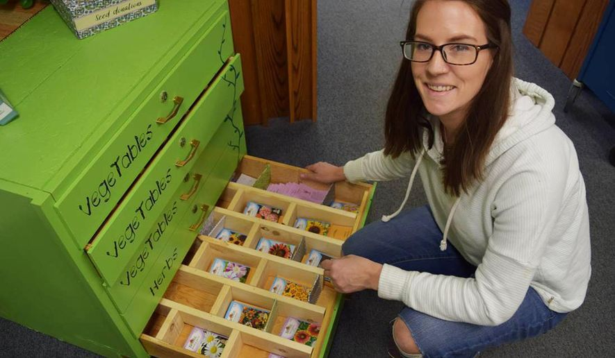"""In this March 30, 2018 photo, Suzanne """"Suzi"""" Catharine, the Livingston-Park County Public Library's outreach services librarian, inspects packets in the new seed library, in Livingston, Mont. Seed libraries encourage local food production, plant diversity and the promulgation of seeds that do well in a particular environment. (Liz Kearney/Livingston Enterprise via AP)"""