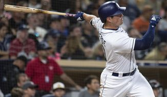 San Diego Padres' Hunter Renfroe watches his two-run home run during the seventh inning of a baseball game against the San Francisco Giants in San Diego, Saturday, April, 14, 2018. (AP Photo/Kyusung Gong)