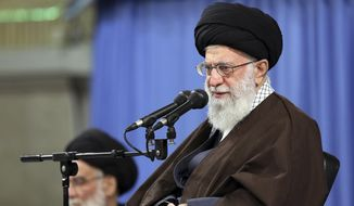 """In this picture released by an official website of the office of the Iranian supreme leader, Supreme Leader Ayatollah Ali Khamenei speaks at a meeting in Tehran, Iran, Saturday, April 14, 2018. Khamenei said that the U.S.-led attack on Syria is a """"crime"""" and said the countries behind it will gain nothing. The Iranian Foreign Ministry strongly condemned the strikes and warned of unspecified consequences. (Office of the Iranian Supreme Leader via AP) FILE"""