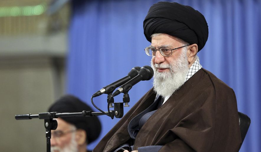 "In this picture released by an official website of the office of the Iranian supreme leader, Supreme Leader Ayatollah Ali Khamenei speaks at a meeting in Tehran, Iran, Saturday, April 14, 2018. Khamenei said that the U.S.-led attack on Syria is a ""crime"" and said the countries behind it will gain nothing. The Iranian Foreign Ministry strongly condemned the strikes and warned of unspecified consequences. (Office of the Iranian Supreme Leader via AP) **FILE**"
