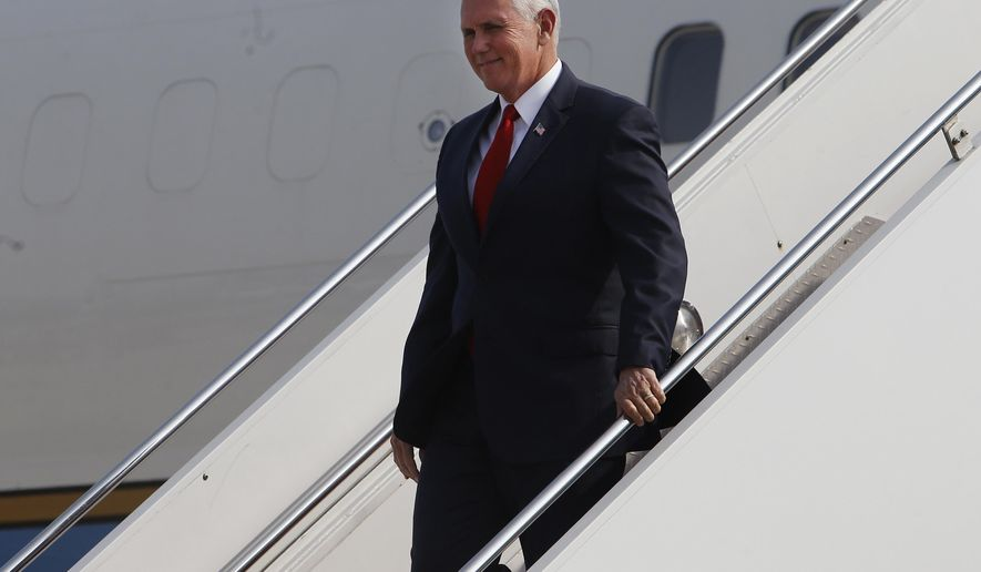 U.S. Vice President Mike Pence arrives to Jorge Chavez international airport in Lima, Peru, Friday, April 13, 2018. Pence is in Lima to attend the Americas Summit. (AP Photo/Karel Navarro)