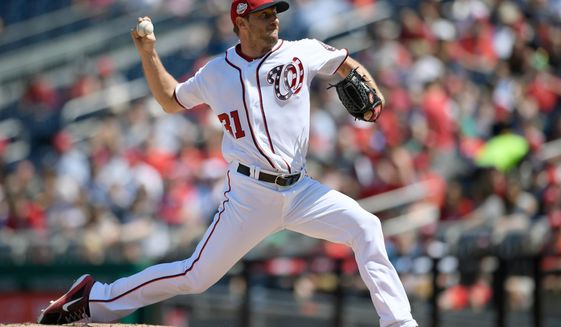 Washington Nationals starting pitcher Max Scherzer delivers a pitch during the fourth inning of a baseball game against the Colorado Rockies, Saturday, April 14, 2018, in Washington. (AP Photo/Nick Wass)