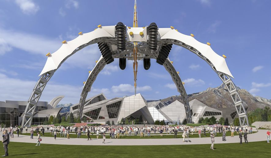 In this rendering provided by the Loveland Living Planet Aquarium is the The Living Planet Science Learning Campus expansion in Draper, Utah. The former stage centerpiece of rock band U2's international tour, a 165-foot tall spider-like structure, has found a new home as the backdrop for an aquarium expansion in suburban Salt Lake City. (Loveland Living Planet Aquarium via AP)