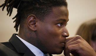 "FILE -In this April 12, 2018 photo, San Francisco 49ers linebacker Reuben Foster appears for his arraignment at the Santa Clara County Hall of Justice in San Jose, Calif. Foster won't participate in the offseason program while he tends to legal matters related to his domestic violence charges.The 49ers said in a statement Sunday, April 15, 2018 that his future with the team will be ""determined by the information revealed during the legal process."" (Dai Sugano/San Jose Mercury News via AP, Pool) **FILE**"