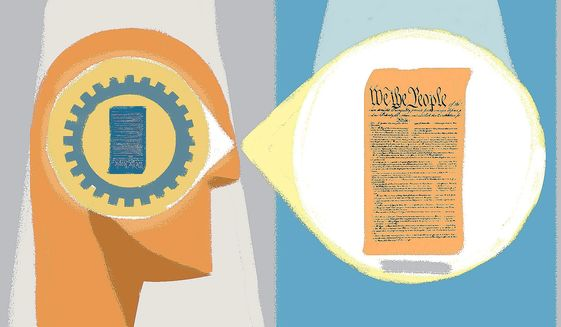 Illustration on ACLU perception of constitutional rights by Linas Garsys/The Washington Times