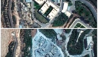 Satellite images show the Barzah Research and Development Center in Syria on Friday (top) and on Sunday. The parameters of presidential powers for such a strike are far from clear. Story, A6. (Associated Press)