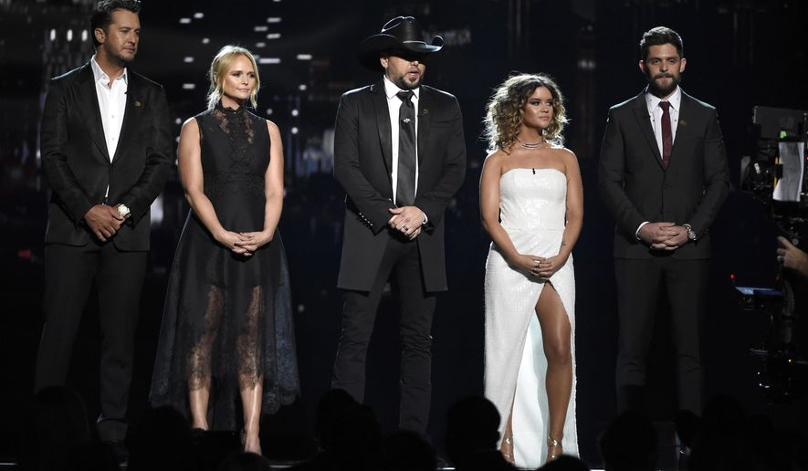 Luke Bryan, from left, Miranda Lambert, Jason Aldean, Maren Morris and Thomas Rhett speak at the 53rd annual Academy of Country Music Awards at the MGM Grand Garden Arena on Sunday, April 15, 2018, in Las Vegas. (Photo by Chris Pizzello/Invision/AP)