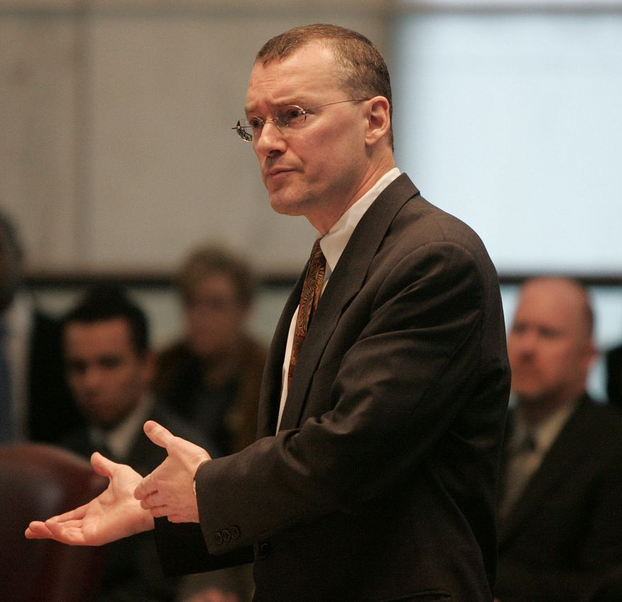 Attorney David S. Buckel makes arguments in favor of gay marriage, Wednesday, Feb. 15, 2006, during oral arguments seeking marriage for same sex couples at the New Jersey Supreme Court in Trenton, N.J. (AP Photo/Jose F. Moreno, Pool)