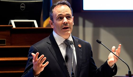 FILE - In this Tuesday, Jan. 16, 2018 file photo, Kentucky Gov. Matt Bevin speaks to a joint session of the General Assembly at the Capitol, in Frankfort, Ky. Gov. Bevin announced Monday, April 9, 2018, that he will veto a tax increase and 2-year operating budget GOP legislature approved in part for education. (AP Photo/Timothy D. Easley, File)