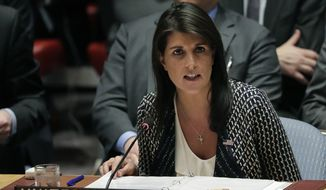 "U.S. Ambassador to the United Nations Nikki Haley said a chemical weapons attack ""could very easily happen"" on American soil. (Associated Press)"