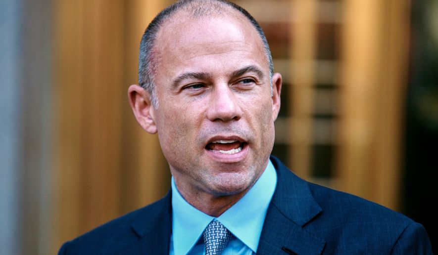 Michael Avenatti attorney and spokesperson for adult film actress Stormy Daniels speaks during a press conference at Federal court, Friday, April 13, 2018, in New York. A hearing has been scheduled before U.S. District Judge Kimba Wood to address President Donald Trump's personal attorney, Michael Cohen's request for a temporary restraining order related to the judicial warrant that authorized a search of his Manhattan office, apartment and hotel room this week. (AP Photo/Andres Kudacki)