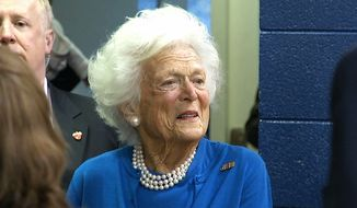 Former first lady Barbara Bush, the mother of Republican presidential candidate Jeb Bush, stands outside of Eastlan Baptist Church, a polling location in Greenville, South Carolina, on Saturday, Feb. 20, 2016. (AP Photo/Alex Sanz)