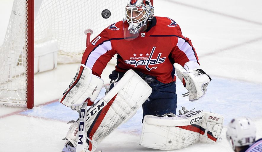 Washington Capitals goaltender Braden Holtby (70) watches the puck during overtime in Game 2 of an NHL first-round hockey playoff series against the Columbus Blue Jackets, Sunday, April 15, 2018, in Washington. The Blue Jackets won 5-4 in overtime. (AP Photo/Nick Wass) ** FILE **